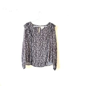 EVERLY Floral Print Black Blouse Small